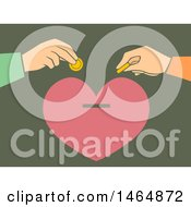 Poster, Art Print Of Hands Depositing Money Into A Heart Bank