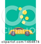 Clipart Of A Car And Falling Coins Royalty Free Vector Illustration