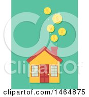 Clipart Of A Home And Falling Coins Royalty Free Vector Illustration