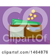 Clipart Of A Wallet And Falling Coins Royalty Free Vector Illustration