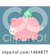 Clipart Of A Piggy Bank With Cash Sticking Out Of The Slot Royalty Free Vector Illustration