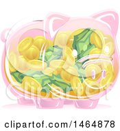 Poster, Art Print Of Transparent Piggy Bank Full Of Coins And Cash Money