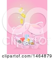 Poster, Art Print Of Transparent Piggy Bank With Falling Coins And A House Car Medical Caduceus Travel Graduation And Building Icons Inside