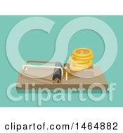 Clipart Of A Mouse Trap With Coins Royalty Free Vector Illustration
