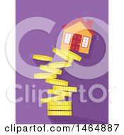 Poster, Art Print Of House On Top Of A Collapsing Tower Of Coins