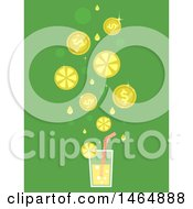 Glass Of Lemonade With Falling Slices And Coins