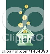 Clipart Of A Bank With Coins Falling Into A Deposit Slot Royalty Free Vector Illustration