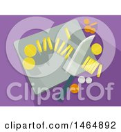 Clipart Of A Knife And Cutting Board With Gold Silver And Copper Coins Royalty Free Vector Illustration