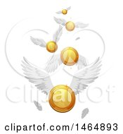 Clipart Of A Flock Of Flying Coins Royalty Free Vector Illustration