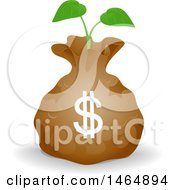 Poster, Art Print Of Dollar Money Bag With A Seed Fund Seedling Plant