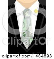 Clipart Of A Closeup Of A Business Man Wearing A Money Tie Royalty Free Vector Illustration