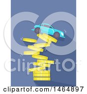 Clipart Of A Car On Top Of A Collapsing Coin Tower Royalty Free Vector Illustration