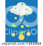 Clipart Of A Cloud Raining Cash And Coins Royalty Free Vector Illustration