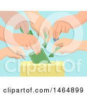 Clipart Of Hands Donating Money And Inserting It Into A Box Royalty Free Vector Illustration by BNP Design Studio