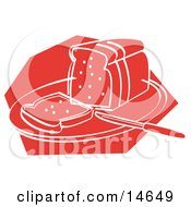 Knife Resting On A Cutting Board Near Sliced Bread Clipart Illustration