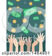 Clipart Of Hands Trying To Catch Falling Money Royalty Free Vector Illustration