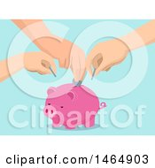Poster, Art Print Of Hands Of A Family Depositing Money Into A Piggy Bank