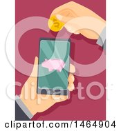 Clipart Of Hands Holding A Smart Phone And One Depositing A Coin Through Online Banking Royalty Free Vector Illustration