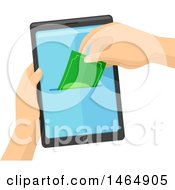 Clipart Of Hands Holding A Smart Phone And Depositing Or Withdrawing Cash From The Screen Royalty Free Vector Illustration