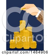 Poster, Art Print Of Hand Stacking A Gold Coin On Top Of Towers