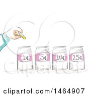 Clipart Of A Sketched Hand Putting A Coin In Marked Jars Royalty Free Vector Illustration