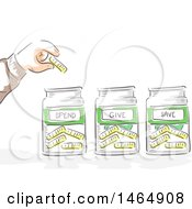 Clipart Of A Sketched Hand Putting A Coin In Spend Give And Jars Royalty Free Vector Illustration by BNP Design Studio