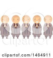 Clipart Of A Group Of Buddhist Monk Boys Royalty Free Vector Illustration