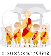 Clipart Of A Group Of Monk Boys And A Man Royalty Free Vector Illustration