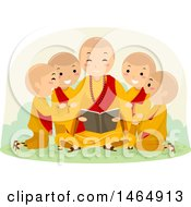Clipart Of A Group Of Boys Huddled Around A Reading Monk Royalty Free Vector Illustration