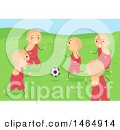 Clipart Of A Group Of Boy Monks Playing Soccer Royalty Free Vector Illustration