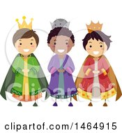 Clipart Of A Group Of Boys In Three Kings Costumes Royalty Free Vector Illustration by BNP Design Studio