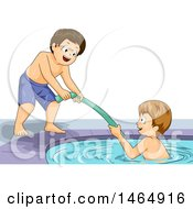 Clipart Of A Boy Helping His Friend Climb Out Of A Pool With A Noodle Royalty Free Vector Illustration by BNP Design Studio