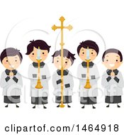 Clipart Of A Group Of Altar Boys Holding Candles And A Cross Royalty Free Vector Illustration