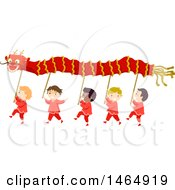 Clipart Of A Group Of Boys Performing A Dragon Dance Royalty Free Vector Illustration by BNP Design Studio