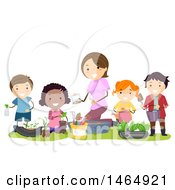 Clipart Of A Group Of School Children Composting For A Garden Royalty Free Vector Illustration