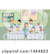 Clipart Of A Group Of School Children And Home Economics Teacher Discussing Vegetables Royalty Free Vector Illustration by BNP Design Studio