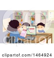 Clipart Of A Group Of School Children And Librarian In A Library Royalty Free Vector Illustration