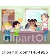Poster, Art Print Of Group Of School Children And Teacher At A Little Principal Desk