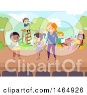 Poster, Art Print Of Group Of School Children And Teacher Rehearsing A Play