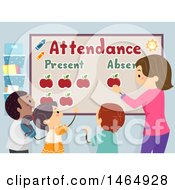 Clipart Of A Group Of School Children And Teacher Marking An Attendance Board Royalty Free Vector Illustration by BNP Design Studio