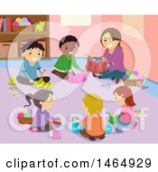 Clipart Of A Group Of School Children And Teacher Knitting Royalty Free Vector Illustration
