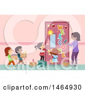Clipart Of A Group Of School Children And A Teacher Decorating A Class Room Door Royalty Free Vector Illustration by BNP Design Studio