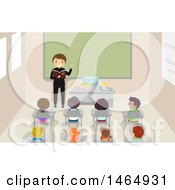 Clipart Of A Group Of School Children Listening To A Priest Royalty Free Vector Illustration