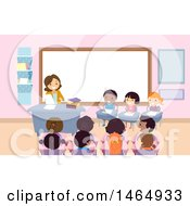 Clipart Of A Group Of School Children In A Spelling Bee Royalty Free Vector Illustration