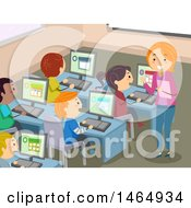 Poster, Art Print Of Group Of School Children And A Teacher In A Computer Lab