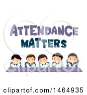 Poster, Art Print Of Group Of School Children Under Attendance Matters Text