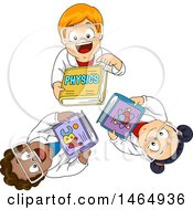 Clipart Of A Group Of School Children Looking Up And Holding Physics Books Royalty Free Vector Illustration