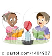 Clipart Of A School Boy And Girl Watching A Balloon Inflate During A Chemistry Experiment Royalty Free Vector Illustration
