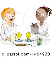 Clipart Of A School Boy And Girl Conducting A Light Bulb And Battery Science Experiment Royalty Free Vector Illustration by BNP Design Studio
