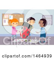 Poster, Art Print Of Group Of School Children Painting A Lady Bug Costume